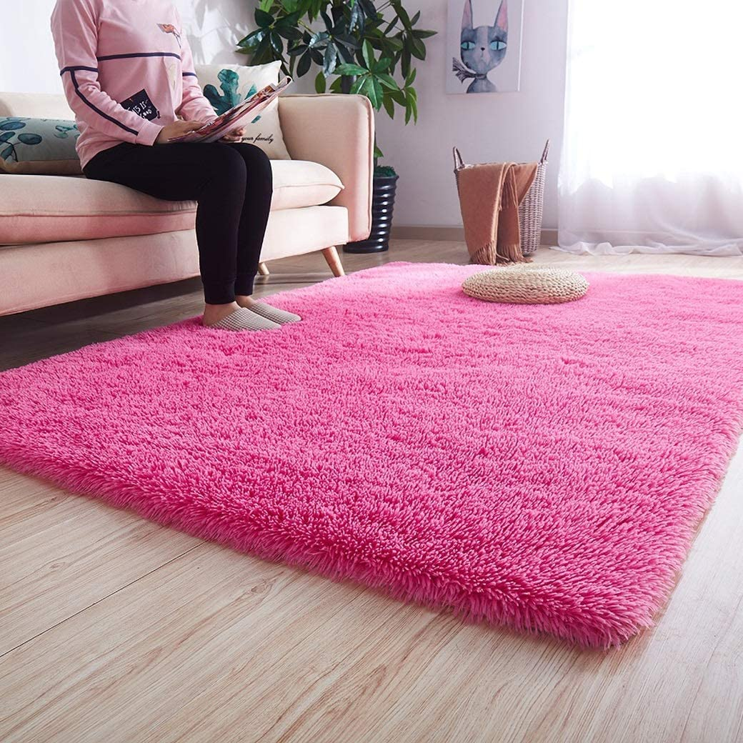 Noahas Luxury Fluffy Rugs Ultra Soft Shag Rug for Bedroom Living Room Kids Room, Child and Girls Shaggy Furry Floor Carpet Nursery Rugs Modern Indoor Home Decorative, 4 ft x 5.3 ft, Hot Pink
