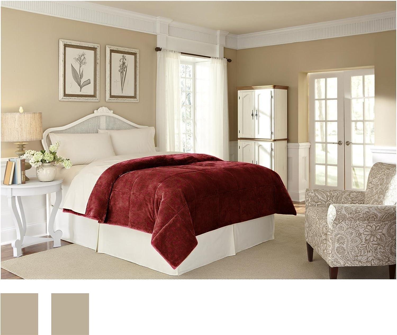 Amazon.de: Vellux Plüsch Lux Twin Decke, burgunderfarben, King Blanket