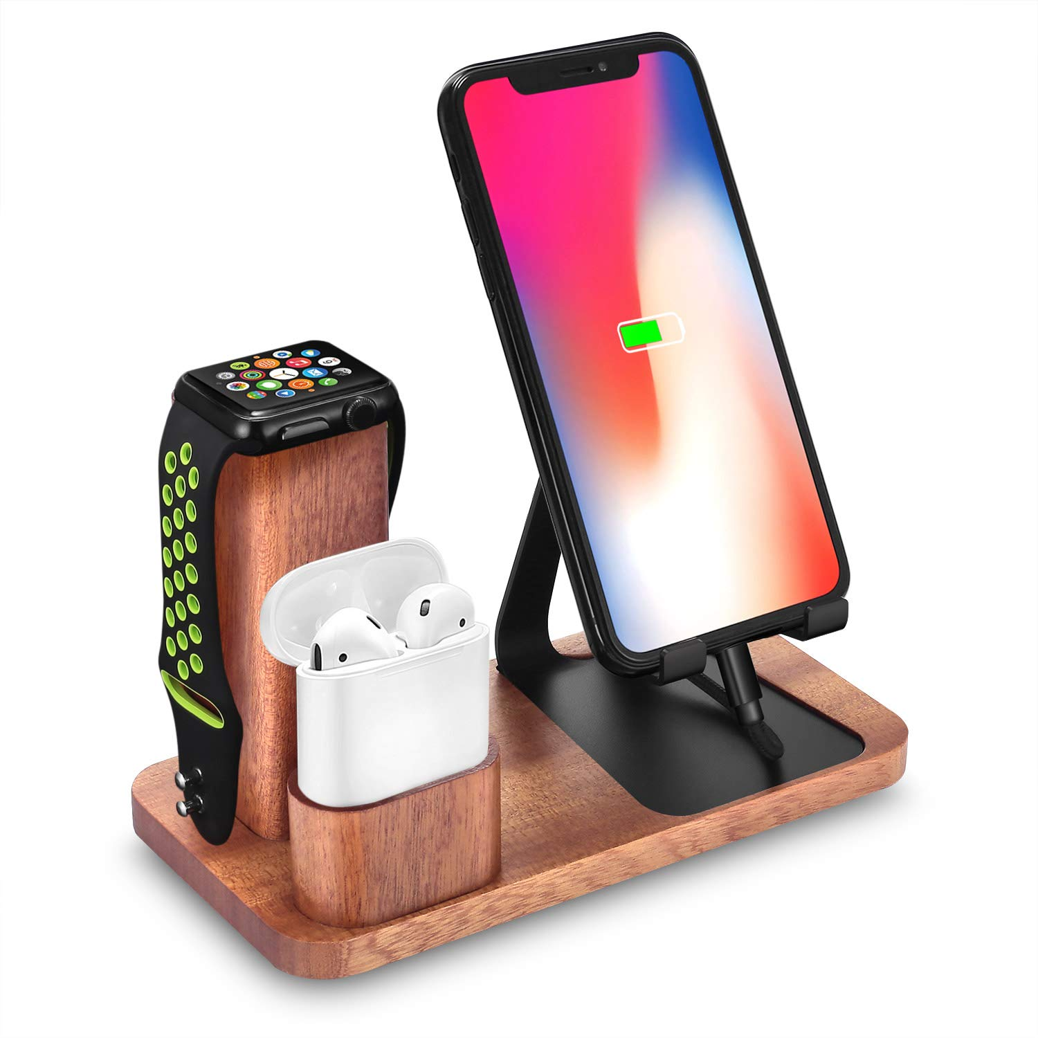 Solid Wood Cell Phone Stand, LiZhi 3 in 1 Universal Charging Dock Station Compatible with Airpods Apple iWatch Series 4/3/2/1 iPhone Xs Max XS XR X 8 7 6S 6 Plus SE 5S 5 Android Smartphone by LiZHi