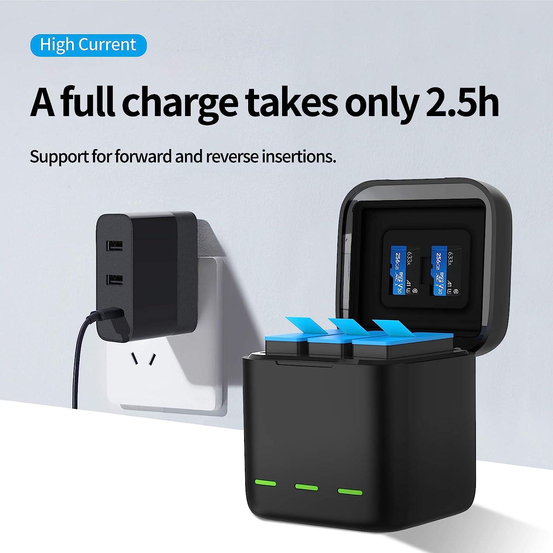 TELESIN Chargeur triple et bo/îte de stockage de batterie avec chargeur /à 3 canaux avec 2 batteries rechargeables Li-ion pour GoPro Hero 9 Black chargeur + 3 batteries