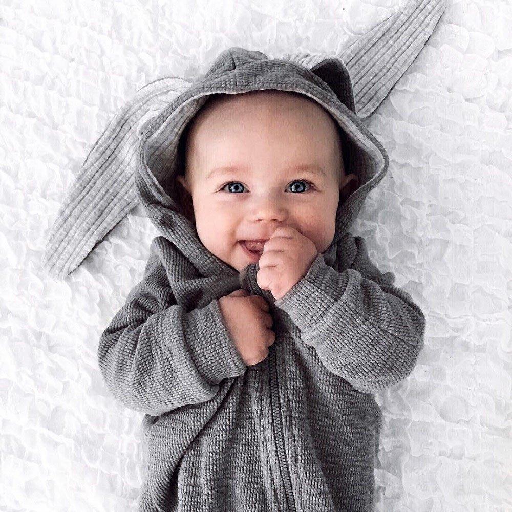 Beb/és Ni/ñas Ni/ños Trajes de Mameluco Conejo 3D O/ído Pijama Mono de algod/ón c/álido Ropa Beb/és por Venmo