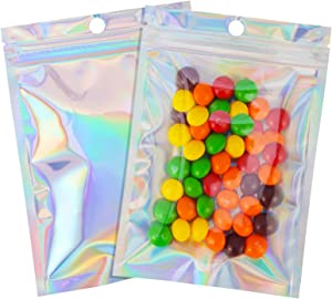 100 Pcs 4×6 Inch Resealable Smell Proof Bags Mylar Ziplock Bag Cute Packaging Sealed Aluminum Foil Pouch Medium Plastic Baggies Colored Clear Front Zip Lock for Lip Gloss Gummy, Holographic
