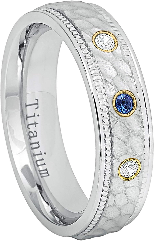 6MM Comfort Fit White Dimpled Center with Milgrained Edge Titanium Wedding Band 0.21ctw Blue Sapphire /& Diamond 3-Stone Titanium Ring