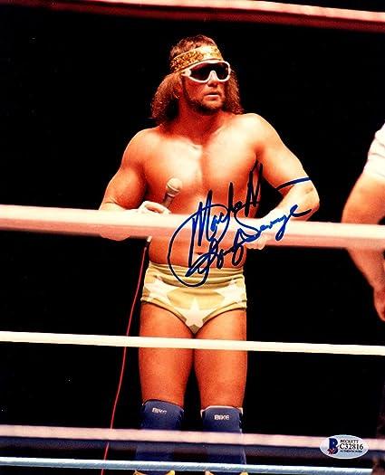 WWF WWE MACHO MAN RANDY SAVAGE Autographed Reprint 8x10 Photo Framed