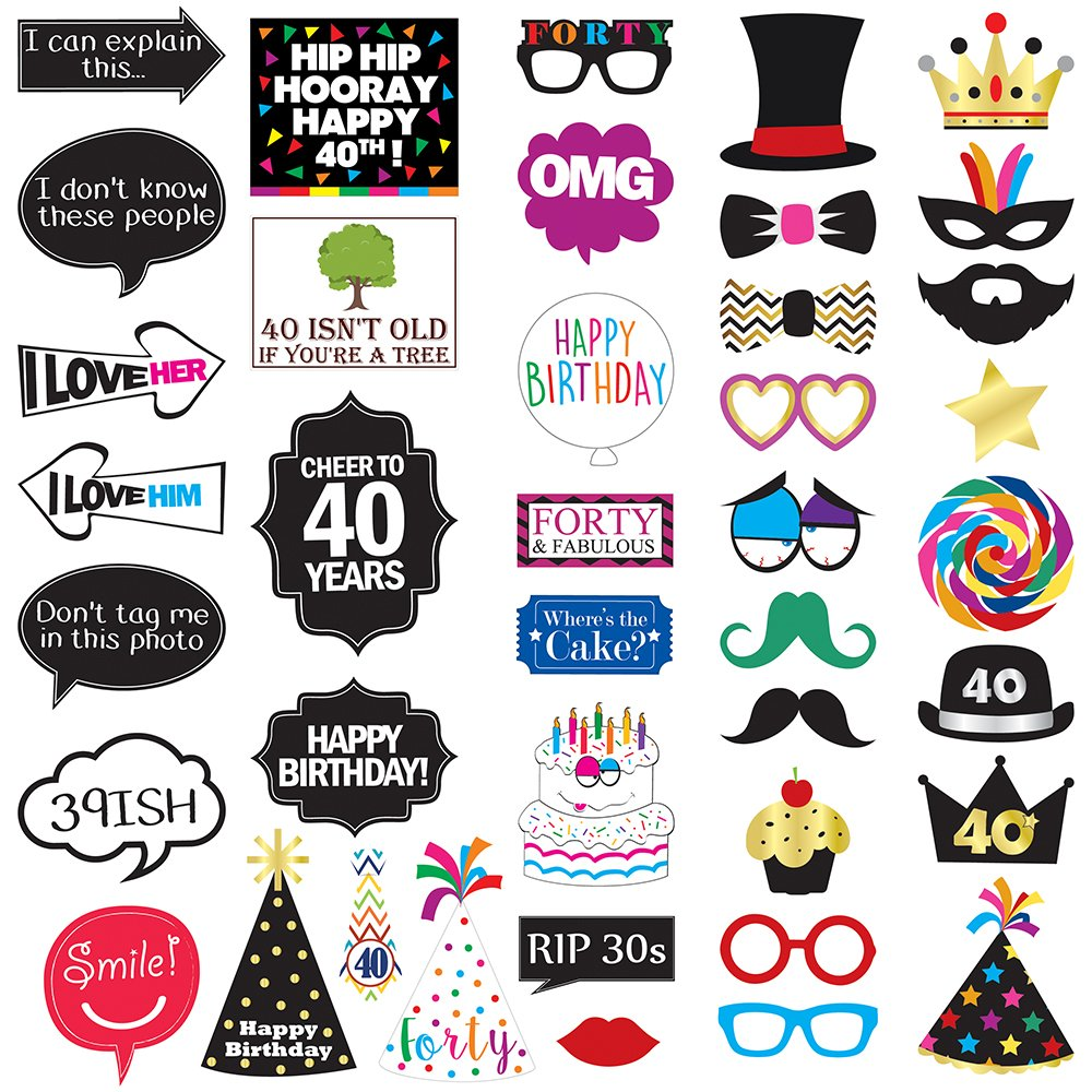 40th Birthday Photo Booth Party Props - 40 Pieces - Funny 40th ...