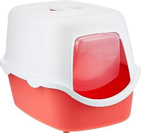 Trixie Bandeja Higiénica Arenero Gatos - Bandeja Sanitaria Gatera Arenero Cubierto Caja De Arena WC Gatos Vico 40 x 40 x 56 cm Rojo Crema