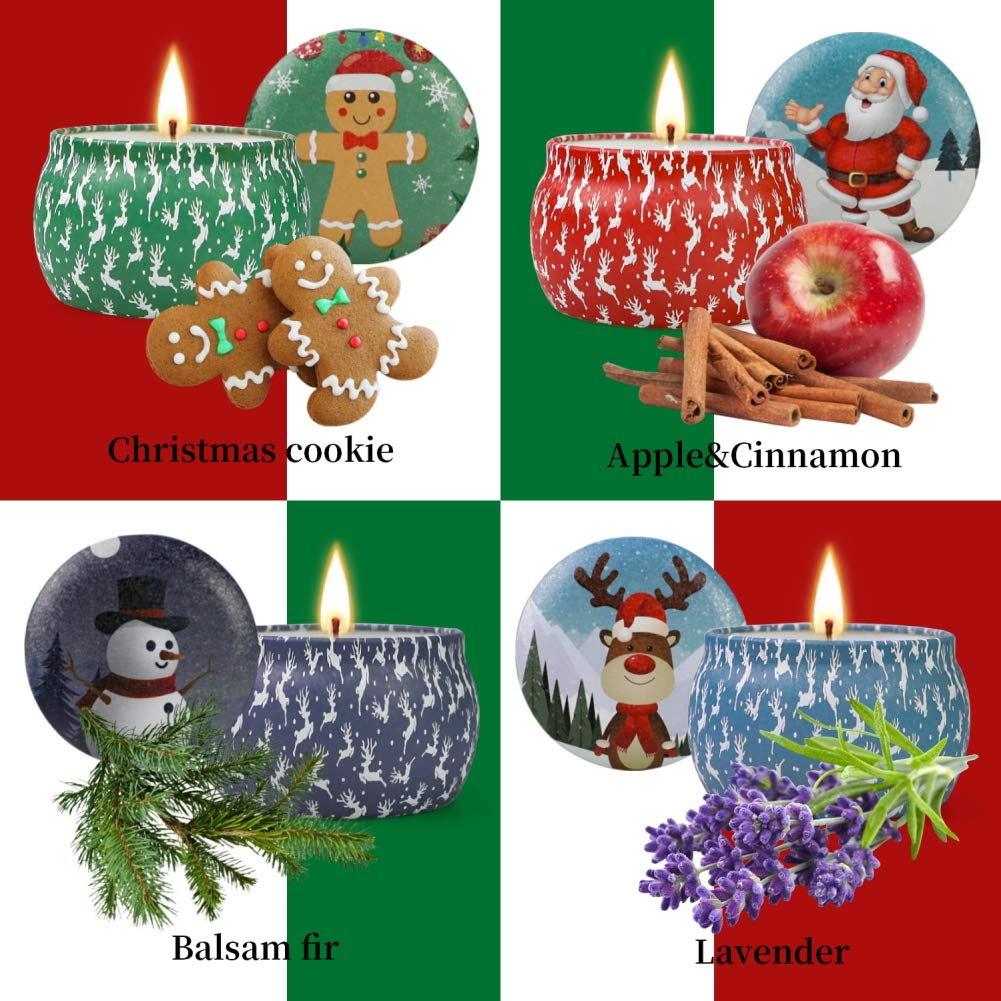 Facaily 4 PCS Scented Candles Set Christmas Decoration Soy Wax Non-Toxic Plant Essential Oil Smokeless Fragrant Aromatherapy Scented Candles