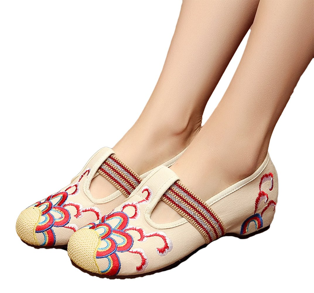AvaCostume Womens Embroidery Round Toe Elastic Ribbon Casual Flats Shoes, Beige 37