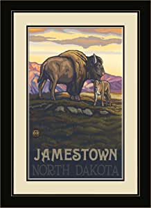 Northwest Art Mall PAL-1838 MFGDM BAC Jamestown North Dakota Buffalo and Calf Framed Wall Art by Artist Paul A. Lanquist, 13 by 16-Inch