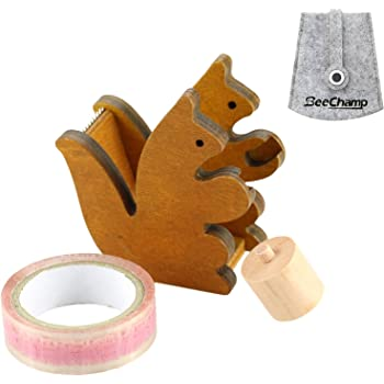 BeeChamp Handmade Cute Wooden Squirrel Desktop Tape Dispenser, Brown