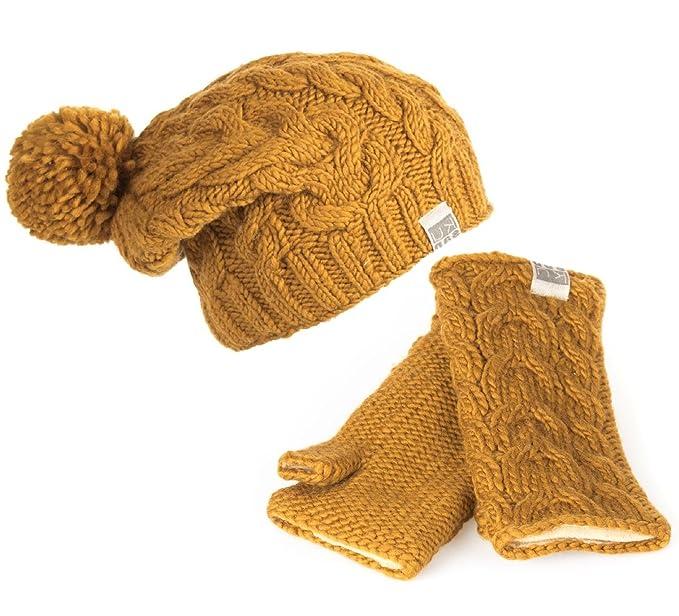 6eba9b71810f0b Kusan 100% Wool Cable Knit Bobble Beanie Hat & Matching Handwarmers (Yellow):  Amazon.co.uk: Clothing