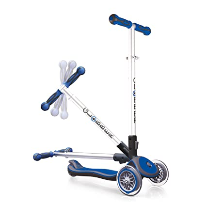 Globber Elite 3 Wheel Folding Adjustable Height Scooter (Dark Blue)