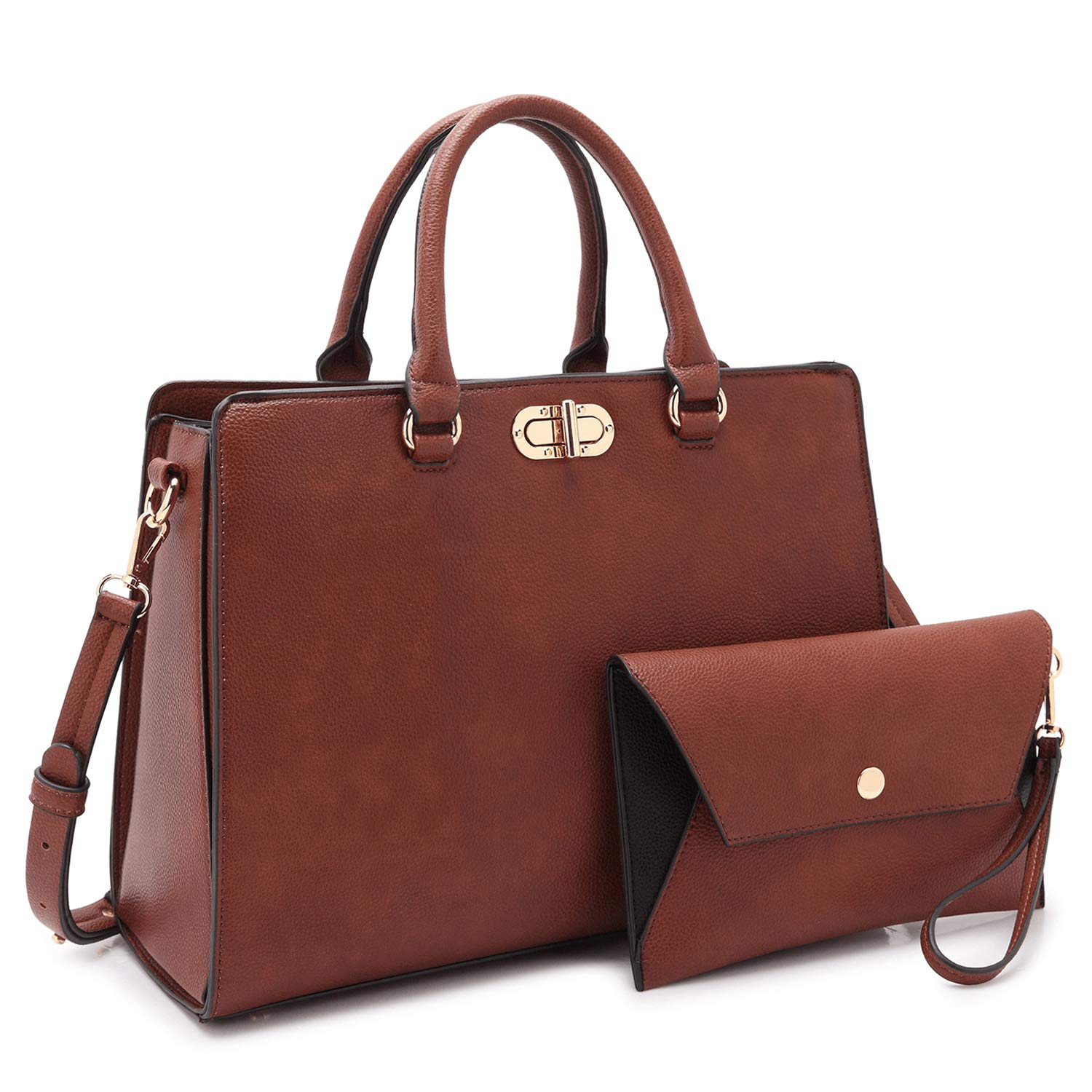 Coffee 1988 MMK Collection Women's Satchel Handbag Vegan Leather Medium SizeDesigner Handbags for Women