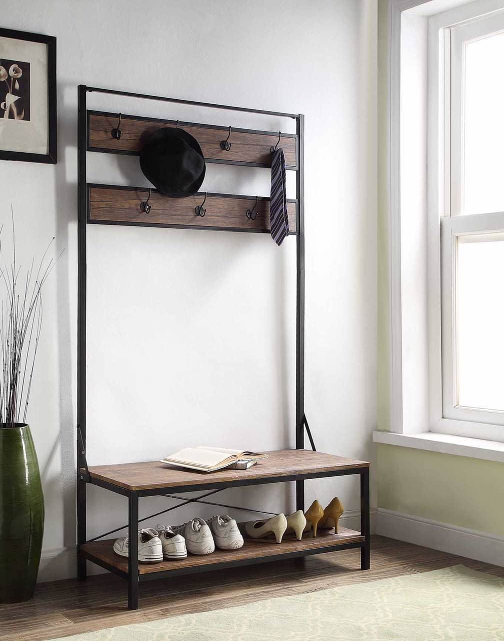 eHomeProducts Vintage Dark Brown Entryway Shoe Bench with Coat Rack Hall Tree Storage Organizer 7 Hooks in Black Metal Finish