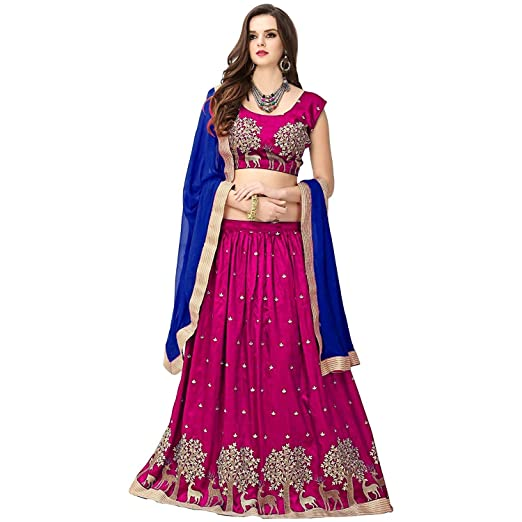 SABHAYA IMPEX Women's Net Semi-stitched Lehenga Choli, Free Size (Pink) Women's Lehenga Cholis at amazon