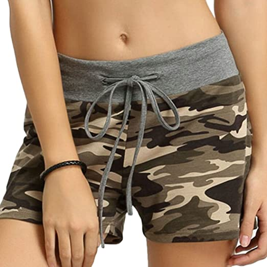 0b7d1410aaa68 JWK Womens Running Mid Waist Comfortable Drawstring Summer Camouflage  Athletic Shorts Green X-Small