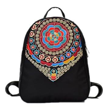Bordado étnico Mujeres Mochila Bolsos de escuela de Nylon para Adolescentes Negro Casual Hombro Mujer Borla Roja Mochilas Black 1: Amazon.es: Equipaje