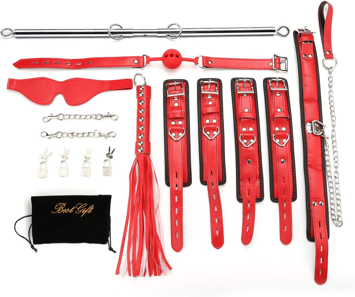 Sovyime Expandable Silver Spreader Bar with 16pcs Red Lichi Adjustable Straps Home Indoor Sports Training Aid Tools Home Yoga Gift Set