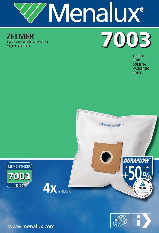 Menalux 7003 Duraflow - Bolsas para aspiradoras Hanseatic, Fakir, Zelmer, Rotel, Quigg, Condell y Bestron (4 unidades): Amazon.es: Hogar