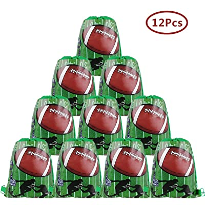 Cieovo 12 Pack Football Party Favor Goodie Bags, Treat Gift Drawstring Bag Football Backpack for Football Sports Theme Birthday Baby Shower Party Decoration Supplies: Toys & Games