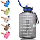 SLUXKE Gallon Motivational Water Bottle Wide Mouth with Time Marker &Straw, Large 128OZ,One Click Open,BPA Free,Ensure You Drink Enough Water Daily for Fitness, Gym and Outdoor Sports