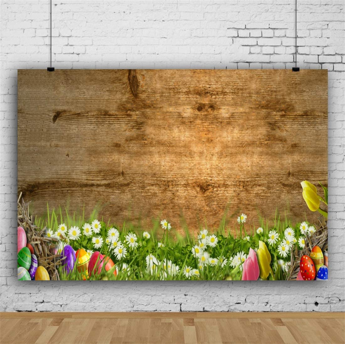 Yeele-Easter-Backdrop 5x3ft Easter Photography Background Eggs Grassland White Flower Brown Wooden Plank Photo Backdrops Pictures Studio Props Wallpaper