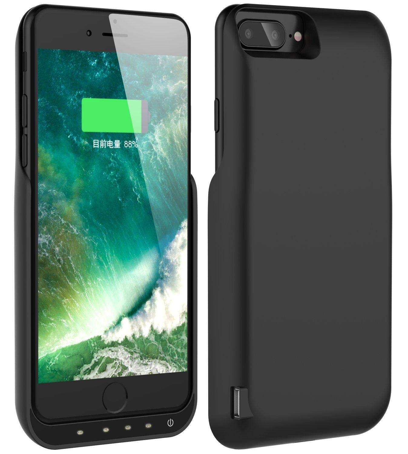 5.5 inch Rechargeable Extended Battery Battery Case for iPhone 7 Plus//8 Plus//6 Plus//6s Plus,5500mAh Portable Protective Charging Case Compatible with iPhone 7 Plus//8 Plus//6 Plus//6s Plus Black