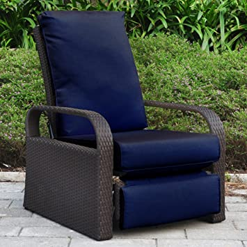 Outdoor Wicker Recliner Chair with 5.12u0027u0027 thickness Cushions Automatic Adjustable Rattan Patio Chaise & Amazon.com : Outdoor Wicker Recliner Chair with 5.12u0027u0027 thickness ... islam-shia.org