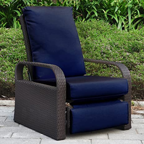 Outdoor Wicker Recliner Chair with 5.12u0027u0027 thickness Cushions Automatic Adjustable Rattan Patio Chaise : rattan reclining garden chairs - islam-shia.org
