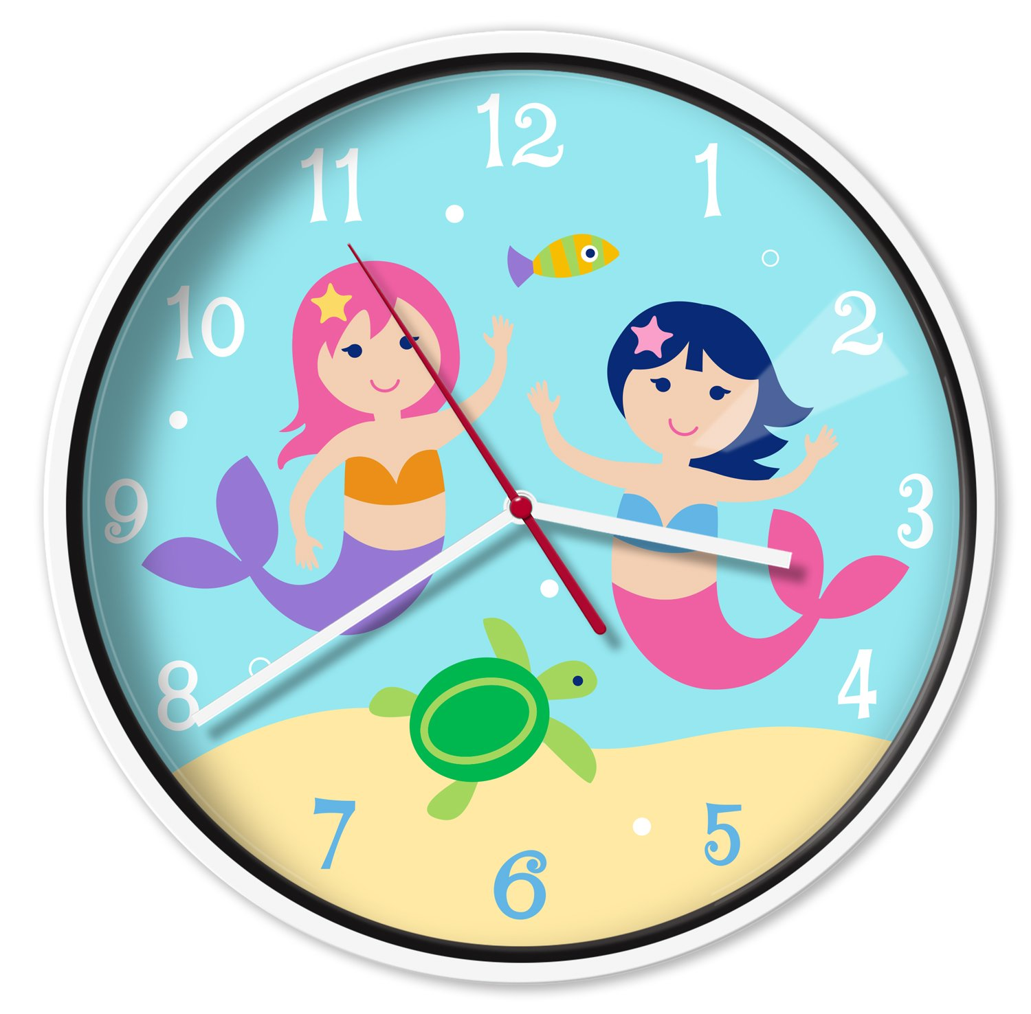 Wildkin Wall Clock, Features Silent Quartz Movement and Durable Plastic Case and Glass Cover, Perfect for Teaching Kids How to Tell Time, Olive Kids Design - Dinosaur Land B06XBM16KD Mermaids