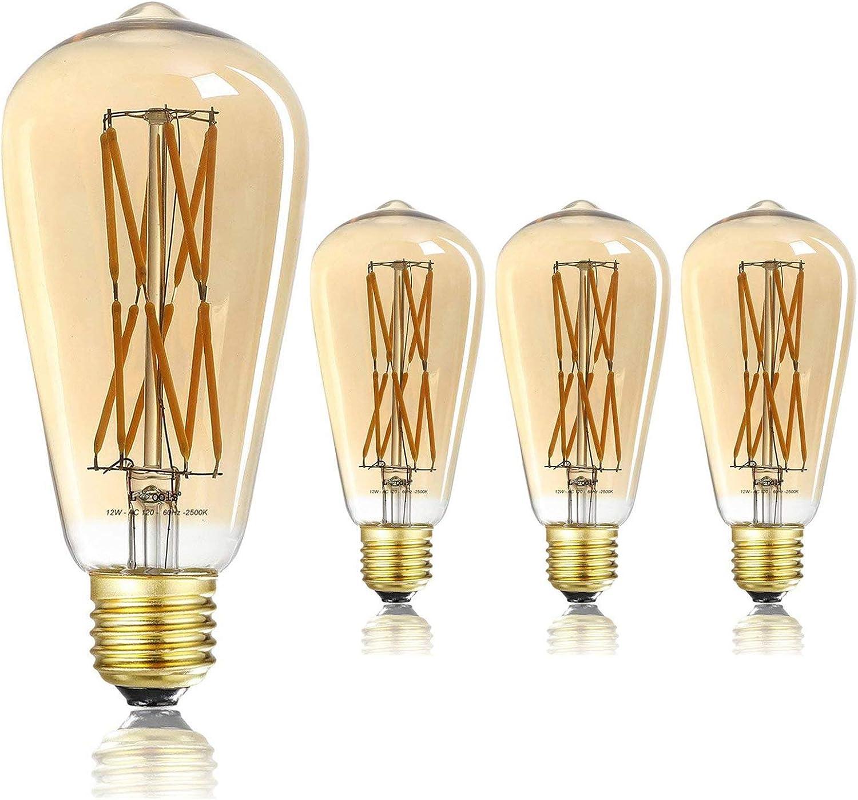Leools 12w Dimmable Vintage Edison Led Light Bulb 100w Equivalent St64 Filament Bulbs 2500k Warm White Amber Gold Glass Antique Shape Squarrel Cage Filament Vintage Light Bulb 4 Pack Amazon Com