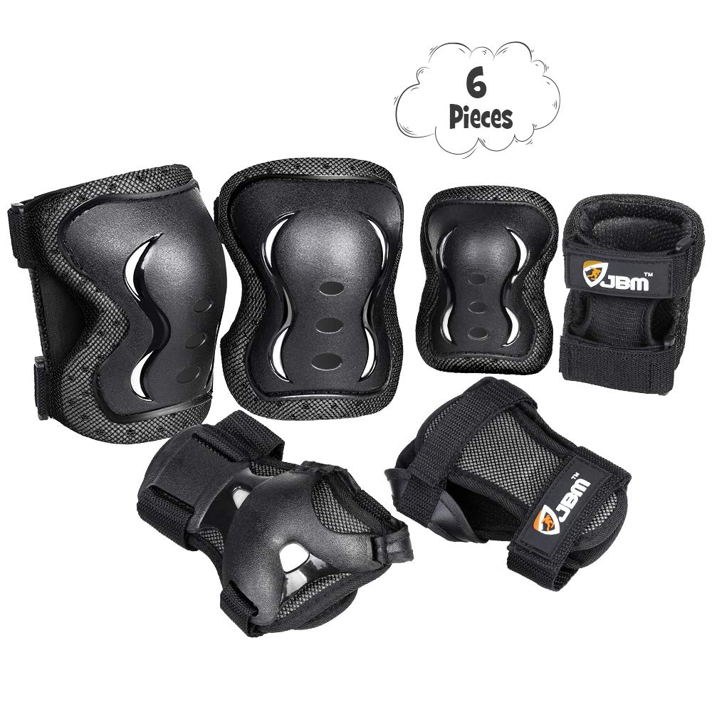 JBM Kids Knee and Elbow Pads with Wrist Guards Protective Gear Set, Impact Resistance for Your Children Outdoor Activities' Adventure, Roller Skating, Cycling, Scooter, Skateboarding Pads Set by JBM international