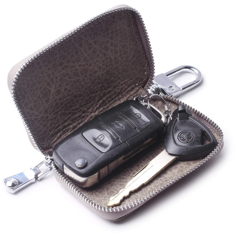 Amazon.com: Llavero de coche de piel auténtica con gancho de ...