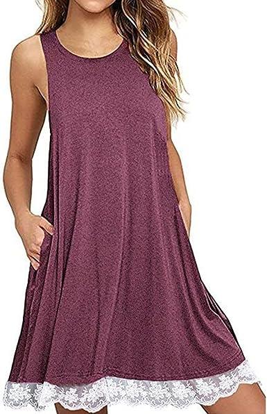 Vestido Verano Mujer Talla Grande, Beladla Mujers Vestidos Elegante AlgodóN Corto Casual Gasa Lazo Cuello Redondo Mangas Largas: Amazon.es: Ropa y accesorios