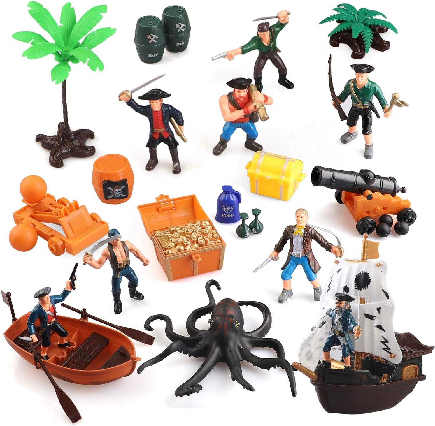 Amazon Com Beebeerun Pirate Action Figures Playset Educational