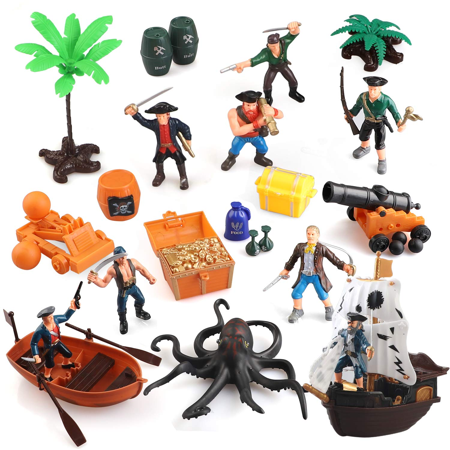 BeebeeRun Pirate Action Figures Playset,Educational Bucket Toys of Pirate Toy with Octopus,Pirate Ship and Other Accessories,War Game Toys for Boys and Kids