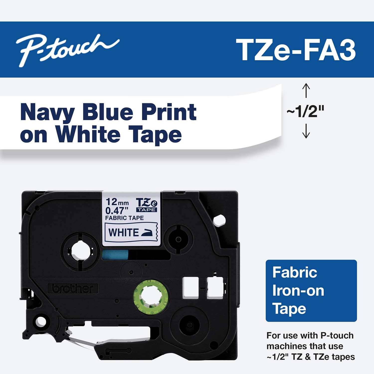 "Brother Genuine P-touch TZE-FA3 Tape, 1/2"" (0.47"") Wide Fabric Iron-On Tape, Navy Blue on White, Can be Ironed onto Virtually Any Cotton Item, 0.47"" x 9.8' (12mm x 3M), Single-Pack, TZEFA3"
