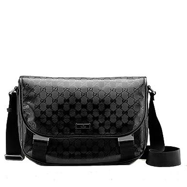 bb4b6d39793 Gucci Black Imprime Flap Closure Messenger Bag 201732  Amazon.co.uk   Clothing