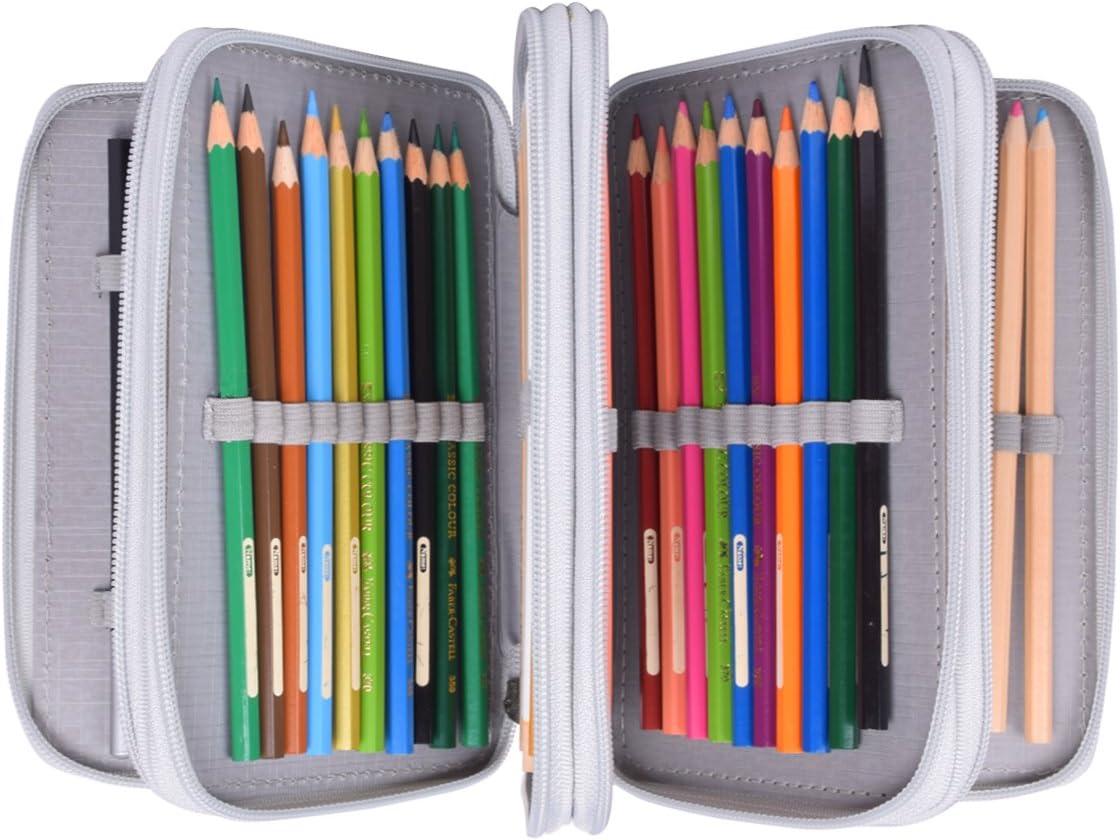 Newcomdigi Estuche Bolso Caja de Lapices Colores 72 Ranuras Portálapices Organizador de Alta Capacidad para Lapices de Colorear Dibujo Acuarela Arte Oficina y Maquillaje Coméstico Gris: Amazon.es: Oficina y papelería