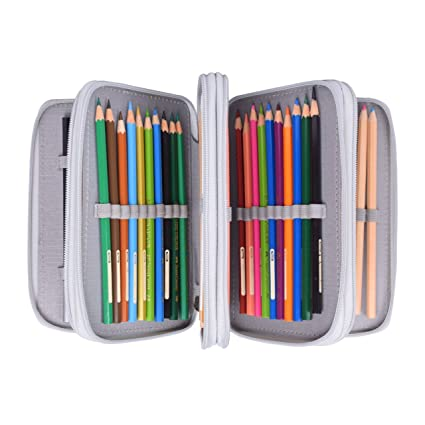 Colored Pencil Case, Newcomdigi 72 Slot Pencil Case Large Art Case  Multilayer Pencil Storage Case