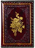 """Gold Roses Refillable Leather Journal with Embossed Roses Design, Ivory Sheets, Lined, 6x8"""""""