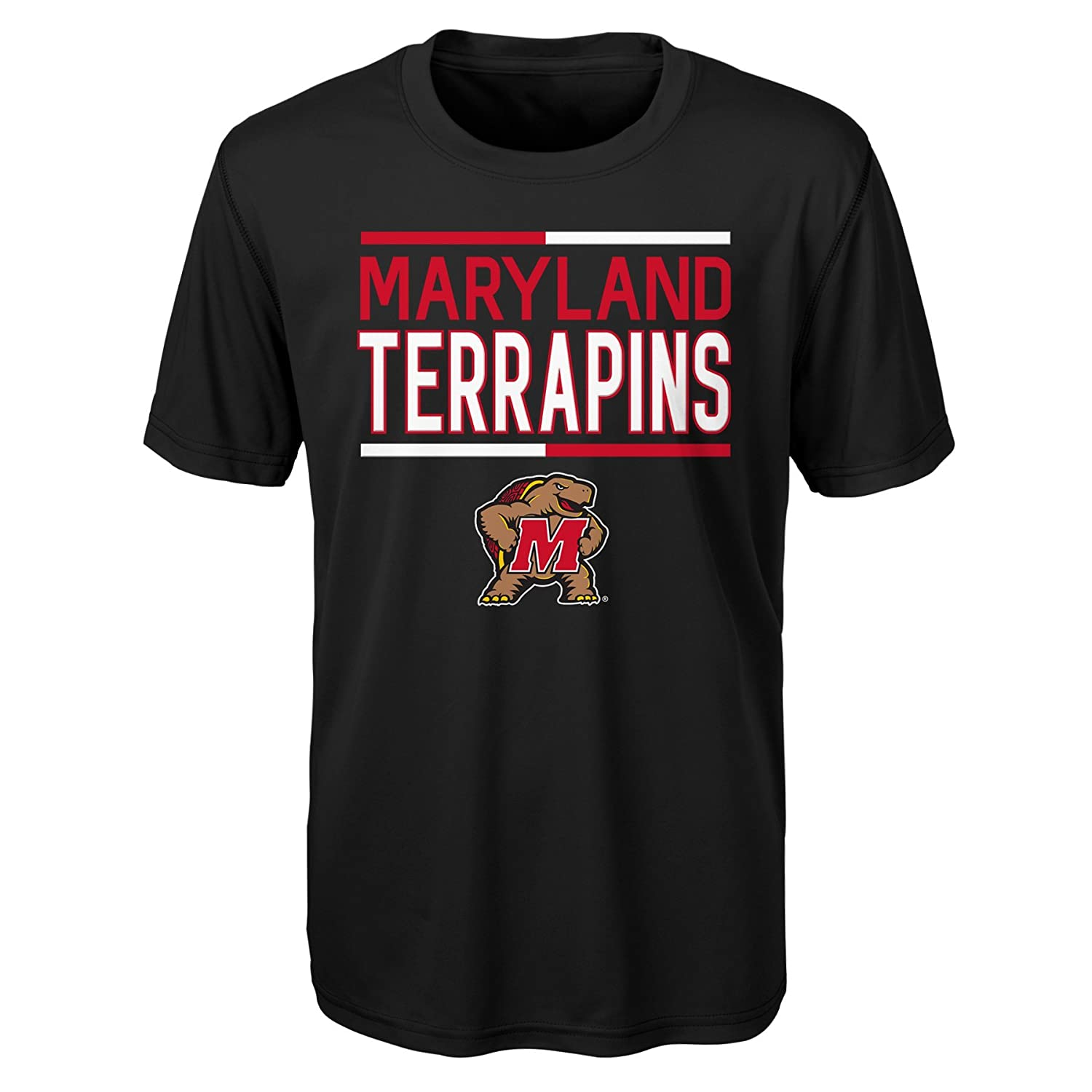 NCAA by Outerstuff NCAA Maryland Terrapins Youth Boys Flag Runner Dri-Tek Short Sleeve Alternate Color Tee Black Youth Large 14-16