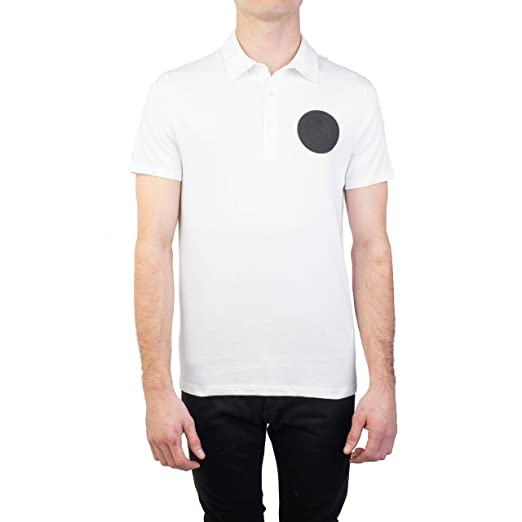 a228caee Image Unavailable. Image not available for. Color: Versace Collection Men's  Pima Cotton Circular Medusa Polo Shirt White
