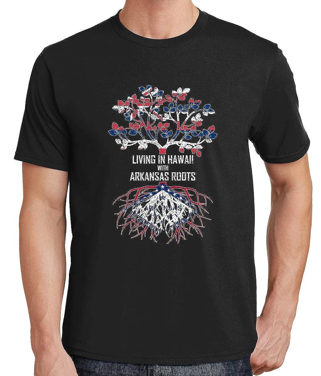 Tenacitee Mens Living in Hawaii Arkansas Roots T-Shirt