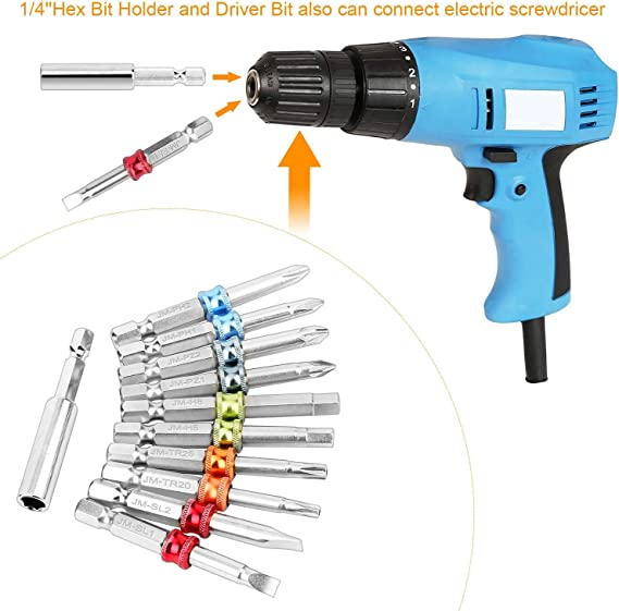 17 POWER DRILL CORDLESS SCREWDRIVER PHILIPS SLOTTED STAR HEX BIT MAGNETIC HOLDER