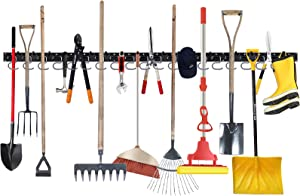 Augtarlion 64 Inch Garage Tool Organizer Wall Mount, Adjustable Storage System, Garage Wall Organizer for Rake, Yard Tools, Garden Tool Hanger for Garage Wall Home Garden 4 ABS Rails 16 Hooks 20 Pegs