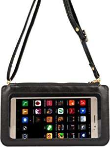 Touch Screen PU Leather Crossbody Bag, Universal Phone Wallet Pouch Shoulder bag for iPhone Xs Max XR X 8 7 Plus,Samsung Galaxy S8 S9 Plus Note 8, S10 Lite, s20+,s20 ultra,Note10+, Note 10 Lite, J5, J