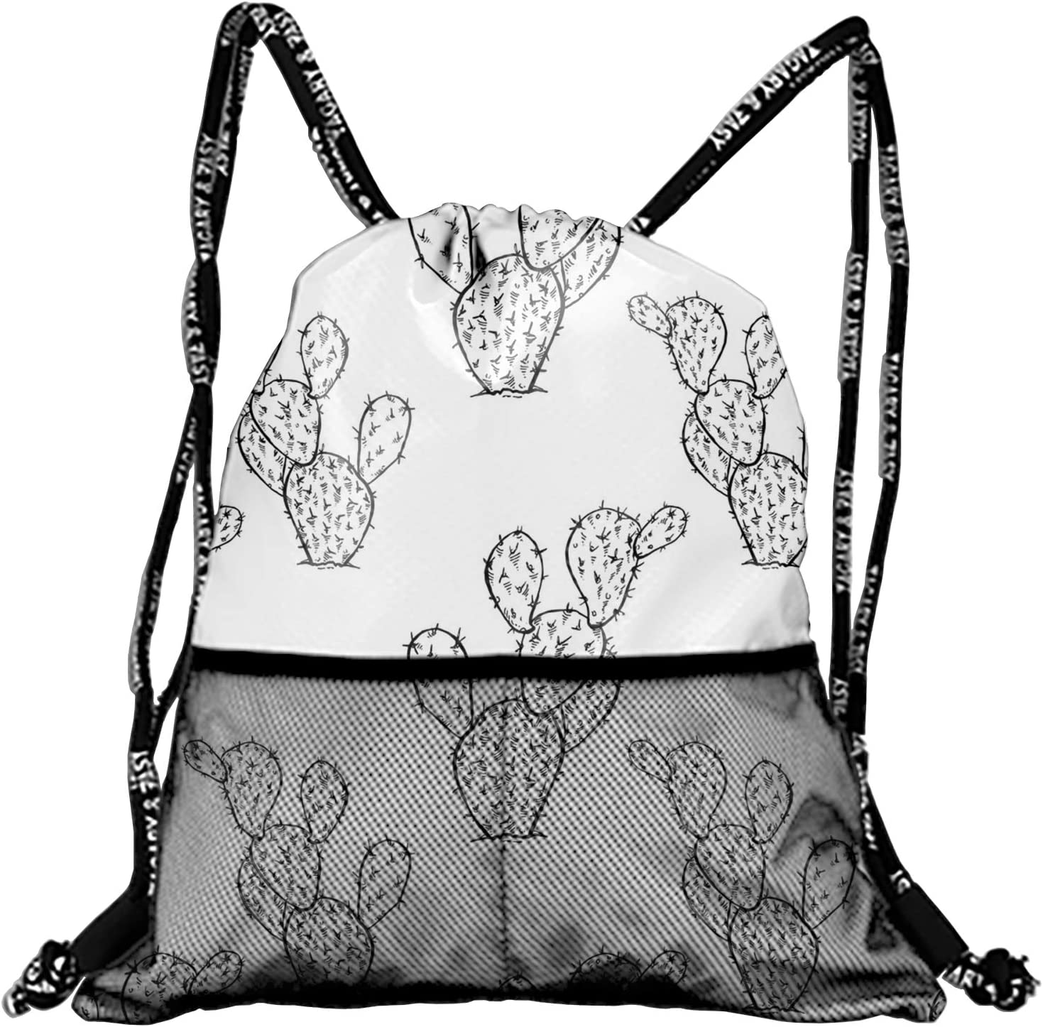 Unisex Cactus Seamless Fashion Beam Mouth Backpack/&drawstring Double Shoulder Bag Drawstring Travel Backpack For Men And Women