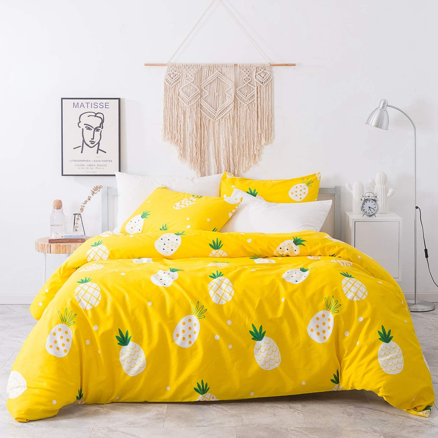 SUSYBAO 3 Pieces Duvet Cover Set 100% Natural Cotton Yellow Queen Size White Pineapple Pattern Bedding with Zipper Ties 1 Fruit Printed Duvet Cover 2 Pillowcases Hotel Quality Breathable Lightweight