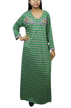 Indiatrendzs Women Woolen Nighty Green Printed Full Sleeve House Wear   Amazon.in  Clothing   Accessories ce36294c64